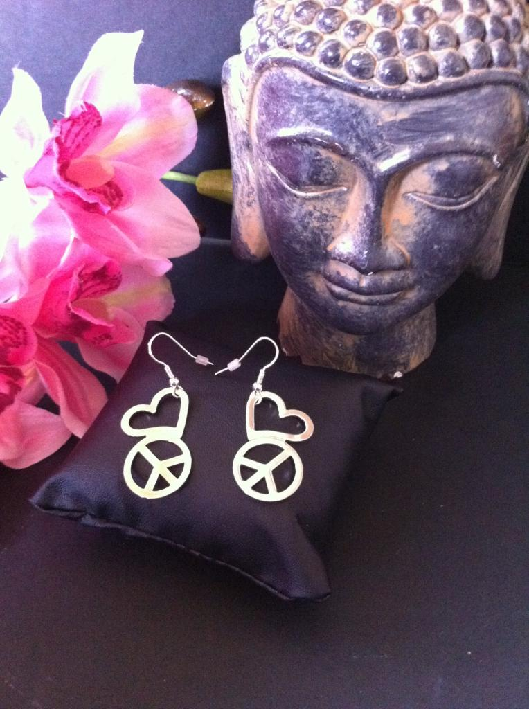 Boucles d 39 oreilles m tal argent peace and love - Boucle d oreille peace and love ...