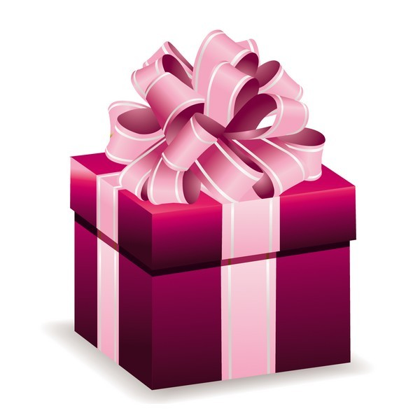 Cadeau rose avec ruban rose