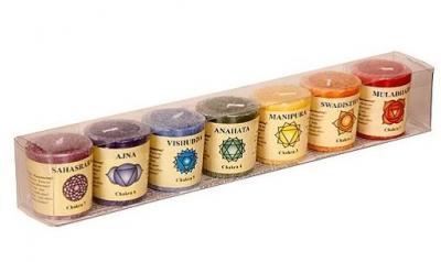 Coffret bougies 7 chakras huiles essentielles