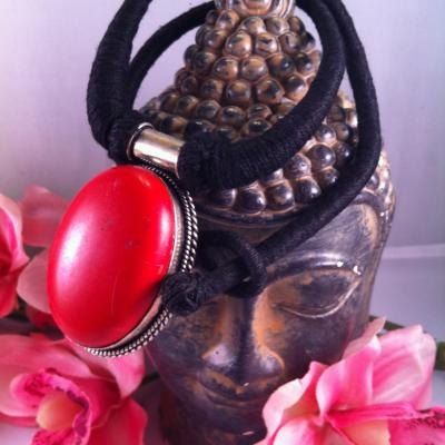 Jaspe rouge collier cordon 1c