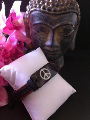 BRACELET CUIR PEACE AND LOVE