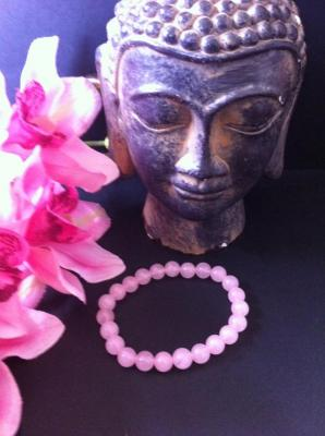 QUARTZ ROSE BRACELET BOULES 8MM